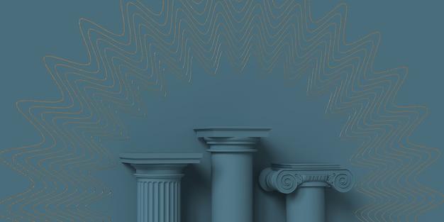 グリーの背景に古典的な柱で作られた製品プレゼンテーションの表彰台