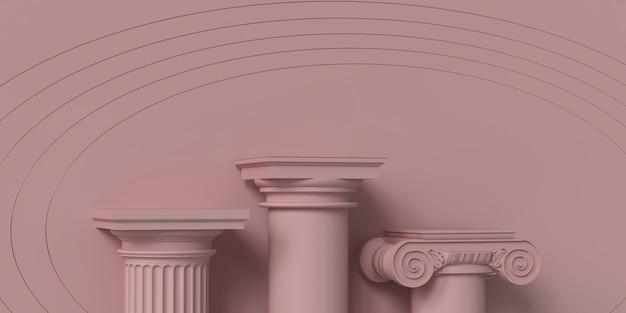 ピンクの背景に古典的な柱で作られた製品プレゼンテーションの表彰台