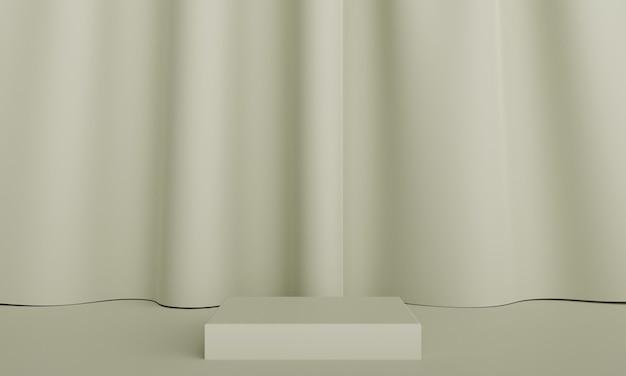 패브릭 커튼 배경으로 제품 프레젠테이션을 위한 연단입니다. 3d 렌더링