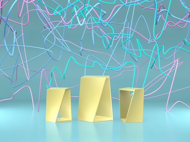 다채로운 추상적 인 라인 배경으로 제품 쇼를위한 연단.
