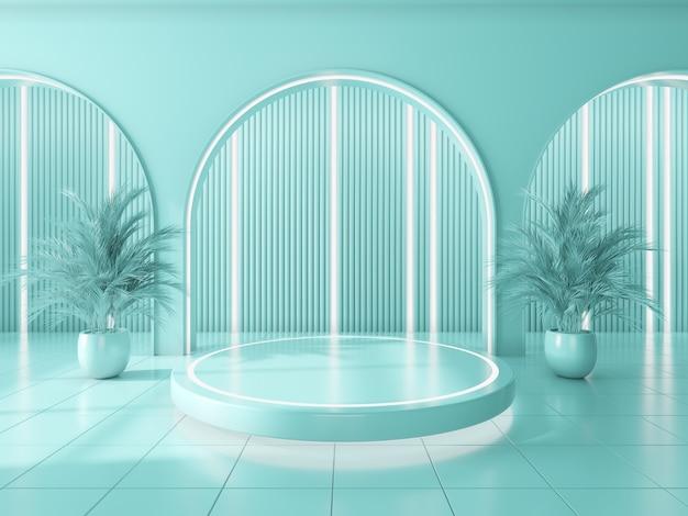 製品と青い円の壁の内部の背景を表示するための表彰台.3dレンダリング