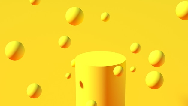 Podium in the form of a yellow cylinder with yellow spheres floating in the air