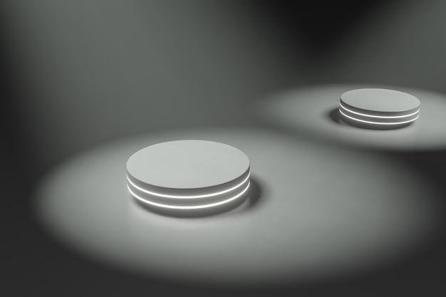 製品スタンドpodium、futureまたはsapceコンセプト、舞台照明3dレンダリング。