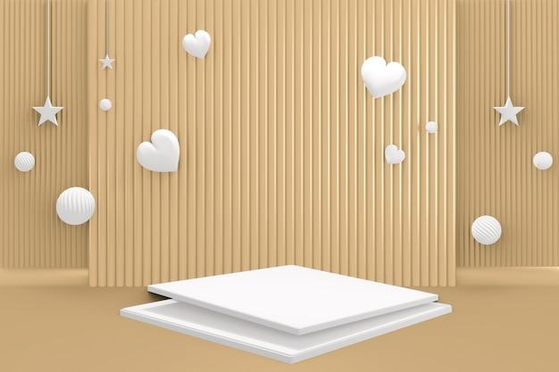 골드 배경 3d 렌더링에 연단 기하학적 모양 흰색 파스텔 색상