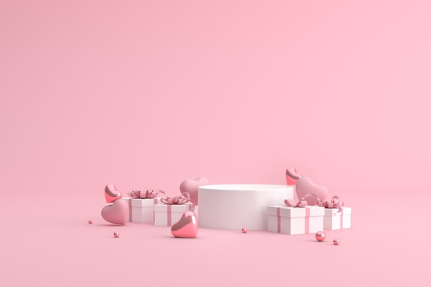 Podium of gift box with balloons in heart shape.