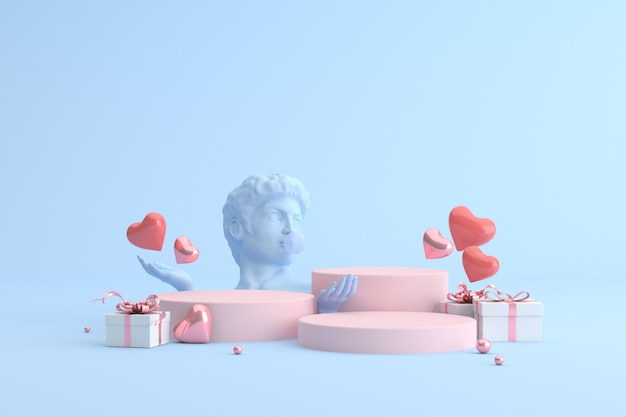Podium of gift box with heart balloons and human sculpture, product presentation.
