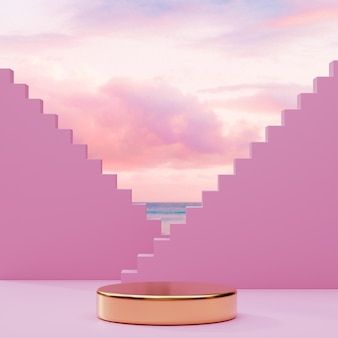 Podium gold stage stand on pink cloudy sky background