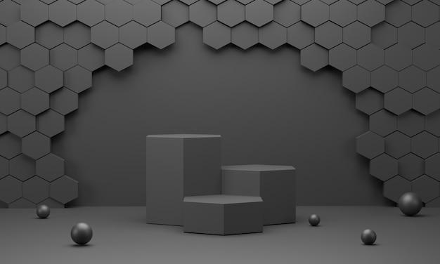 Шестиугольный подиум с черным сотовым фоном стены для демонстрации продуктов и черными шарами