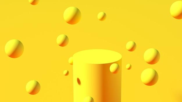 노란색 구체가 공중에 떠 있는 노란색 실린더 형태의 연단