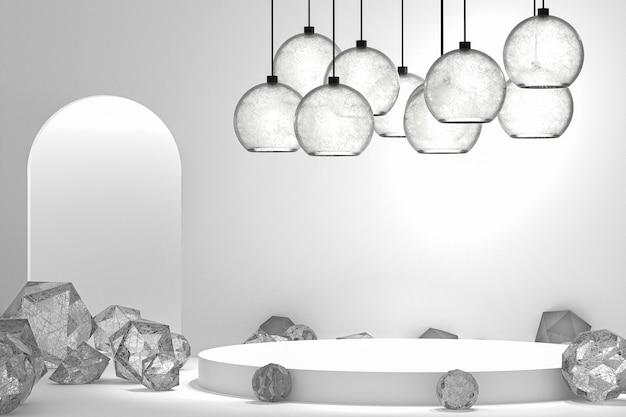 化粧品のプレゼンテーションのための表彰台の最小限の抽象的な背景、抽象的な幾何学的形状