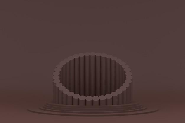 Подиум минимальный на коричневом фоне для презентации косметической продукции