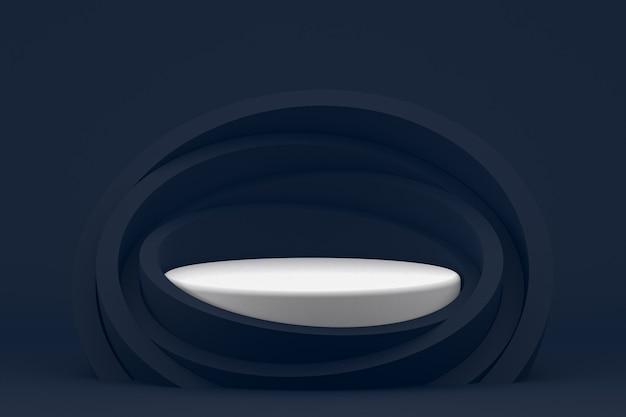 Подиум минимальный на темно-синем фоне для презентации косметической продукции