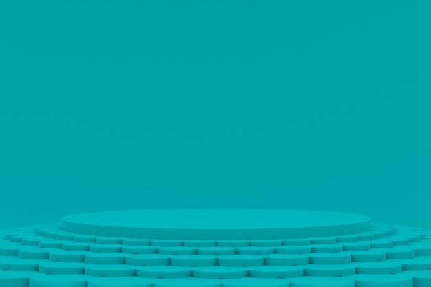 化粧品のプレゼンテーションのための緑の背景に最小限の表彰台