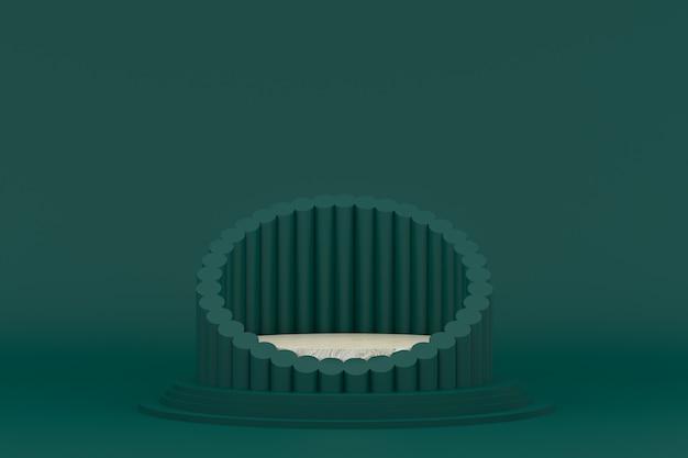 Подиум минимальный на зеленом фоне для презентации косметической продукции