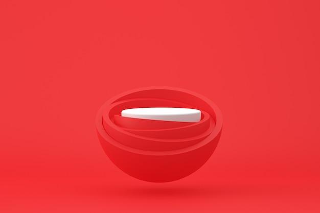 化粧品のプレゼンテーションのための赤い背景に最小限の表彰台