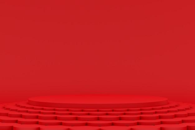 化粧品のプレゼンテーションのための赤の最小限の表彰台