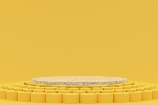 Подиум минимальный на желтом фоне для презентации косметической продукции