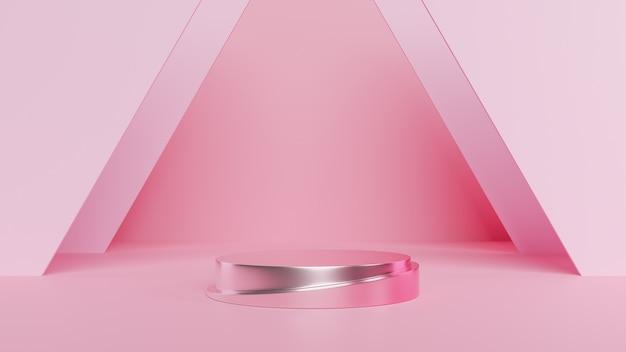 表彰台の最小限のピンクの壁シーン.3 dレンダリング
