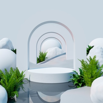 Podium mockup display on desert with for product presentation,3d rendering