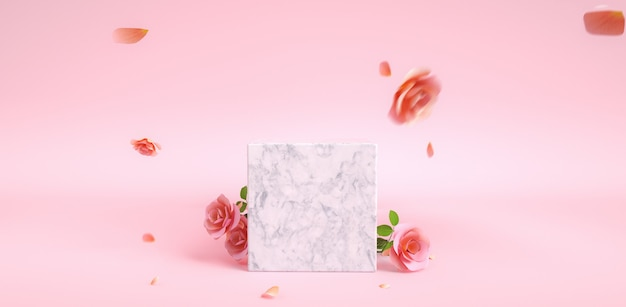 Podium for mothers day and valentines day rose flowers and background with pink color 3d