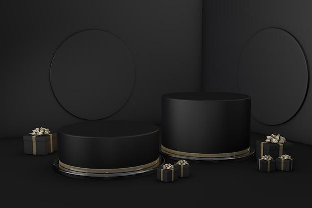 ギフトボックス付きの暗い背景の表彰台3dブラックフライデーのプレゼンテーション