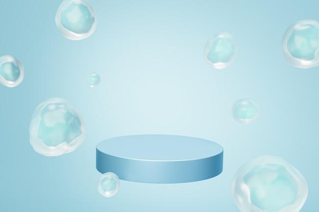 파스텔 파란색 배경, 3d 렌더에 거품이 있는 제품 또는 광고를 위한 연단 또는 받침대