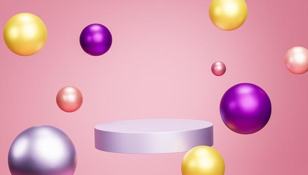 파스텔 핑크색 배경, 3d 렌더에 구체가 있는 제품 또는 광고를 위한 연단 또는 받침대