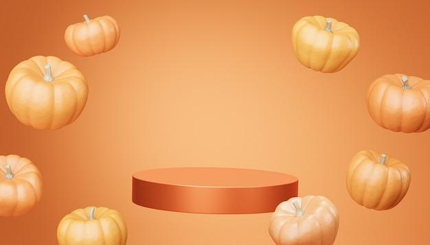 주황색 배경, 3d 렌더에서 가을 휴가를 위한 제품 전시 또는 광고를 위한 날아다니는 호박이 있는 연단 또는 받침대
