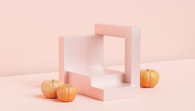 제품 전시용 호박이 있는 연단 또는 받침대, 가을 방학 광고, 3d 렌더