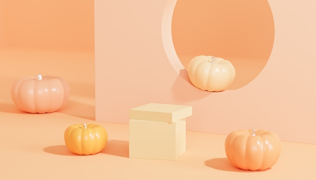 Подиум или постамент с тыквами для демонстрации продуктов или рекламы осенних праздников на оранжевом фоне, 3d визуализация