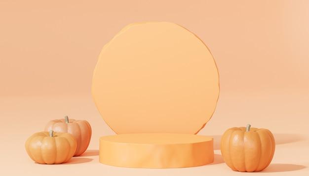 주황색 배경, 3d 렌더에서 가을 휴가를 위한 제품 전시 또는 광고를 위한 호박이 있는 연단 또는 받침대