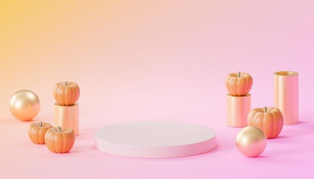 제품 전시용 호박이 있는 연단 또는 받침대, 분홍색 및 주황색 배경의 가을 휴가 광고, 3d 렌더