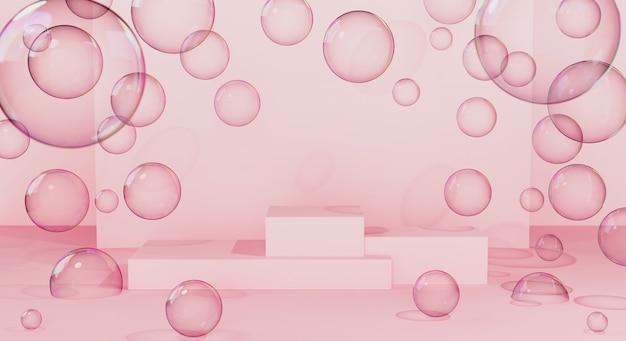 주위에 비누 거품이있는 분홍색 벽에 제품 프레젠테이션을위한 연단 또는 플랫폼