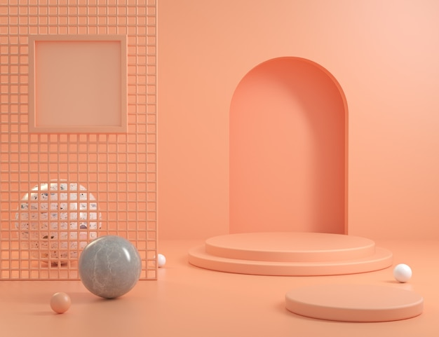 Podium orange pastel scene background with frame blank space and marble ball 3d render