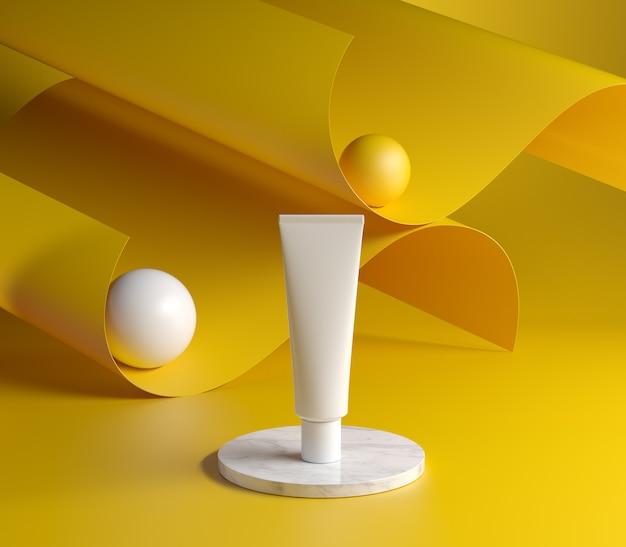 黄色の表面上のpodiumパッケージング3dレンダー