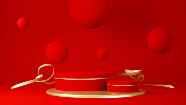 연단, 받침대 또는 플랫폼, 제품 프레젠테이션 배경. 광고를위한 장소. 골드와 3d 렌더링 빨간색 무대 형상입니다. 제품 발표 빈 연단.