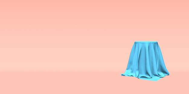 Podium, pedestal or platform covered with blue cloth on pink background. abstract illustration of simple geometric shapes. 3d rendering.