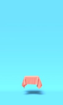 Podium, pedestal or platform covered with pink cloth on blue background. abstract illustration of simple geometric shapes. 3d rendering.
