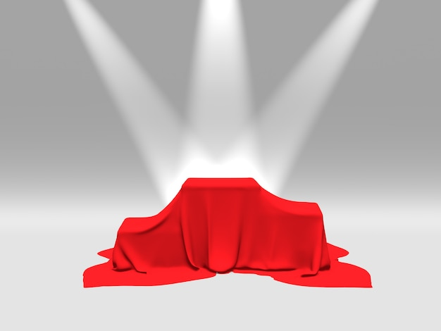 Podium, pedestal or platform covered with red cloth illuminated by spotlights on white background. abstract illustration of simple geometric shapes. 3d rendering.