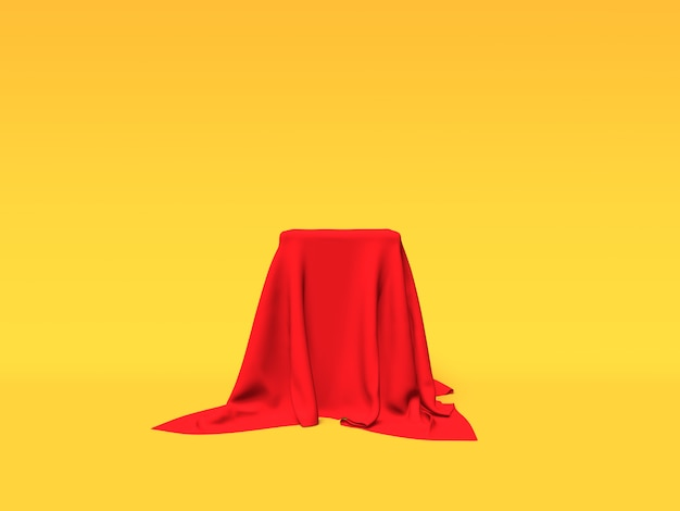 Podium pedestal or platform covered with red cloth on yellow background 3d rendering