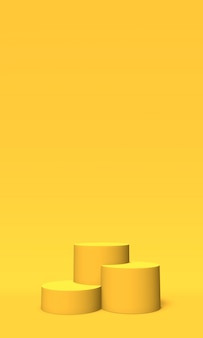 Podium, pedestal or platform gold color on yellow background. abstract illustration of simple geometric shapes. 3d rendering.
