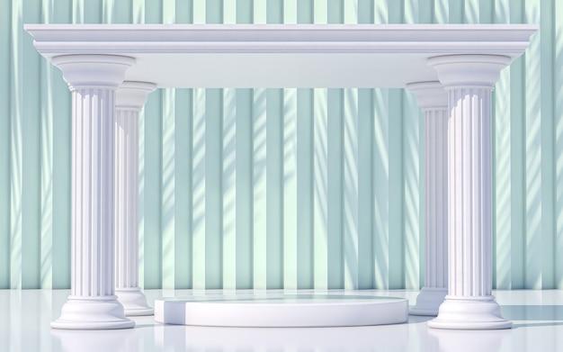 Podium pedestal with columns greek style. 3d rendering