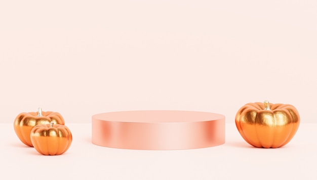 Podium or pedestal with golden pumpkins for products display or advertising for autumn holidays, 3d render