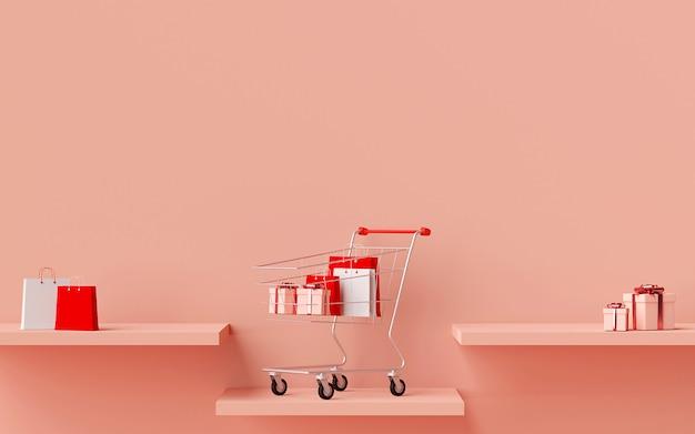 ショッピングカートでの表彰台の製品広告、3dレンダリング