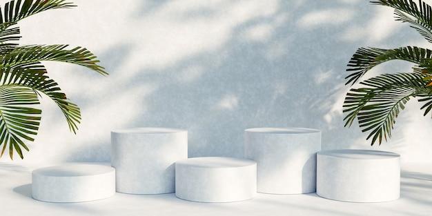 白地に自然の葉が付いた表彰台の製品ディスプレイスタンド。 3dレンダリング