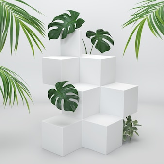 Podium product display with tropical leaves on white background