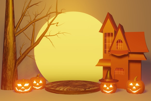 Podium product of halloween festival in 3d rendering