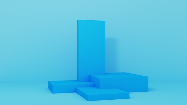 Podium for product placement with frames on blue background