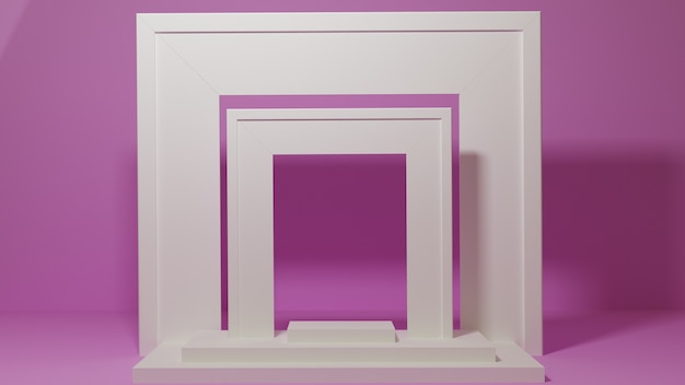 Podium for product placement with frames on pink background