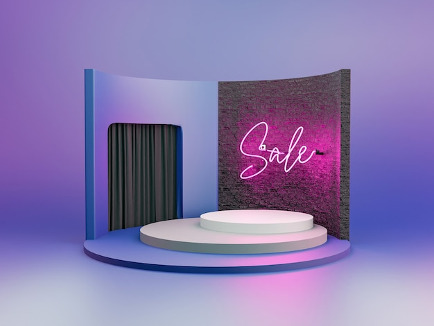 Podium for product presentation with brick wall and neon pink lamp with the word sale and black velvet curtains